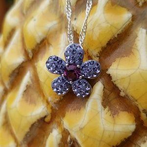 Jewelry - Purple Swarovski Stone Crystal Flower